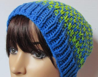 Blue and Green Stripped Seattle Seahawks Inspired Slouchy Beanie