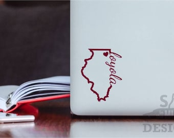 Loyola University Chicago Permanent & Custom State Vinyl Decal (Outline Style)