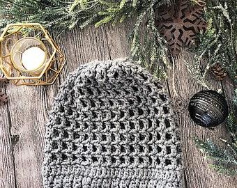 Gray Slouchy Crochet Net Beanie