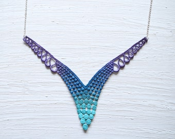 Lace Necklace in Aqua,  Navy Blue and Purple Ombre