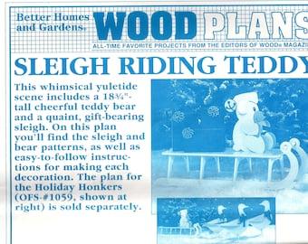 Christmas Teddy & Sled Pattern,Wood Christmas Teddy Pattern,Yard Art Wood Pattern,Christmas Yard Art Wood Pattern,Wood Patterns for Yard Art