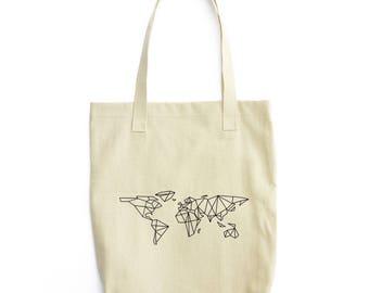 Minimal Geometric World Map art bag