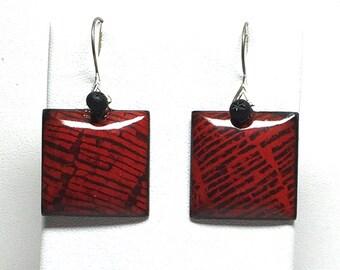 Red Enamel Earrings with sterling silver ear wires