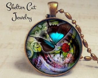 "Butterfly and Time Necklace - 1-1/4"" Circle Pendant or Key Ring - Handmade Wearable Photo Art Jewelry - Bug, Clock, Time, Teal, Rose Gift"