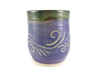 Purple carved mug - wind pattern carved mug - wine cup - pottery - handthrown - tumbler