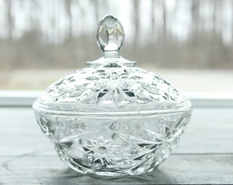Vintage Pressed Glass Dish with Lid Anchor Hocking Stars and Cameo Medallion Patterned Glass