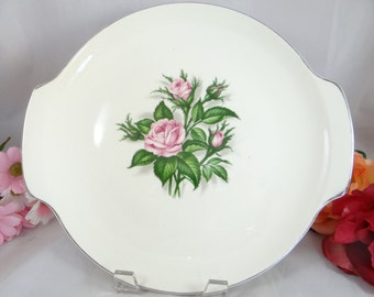 1950s Mid Century German Pink Rose Cake Two Handled Cake Plate or Serving Tray