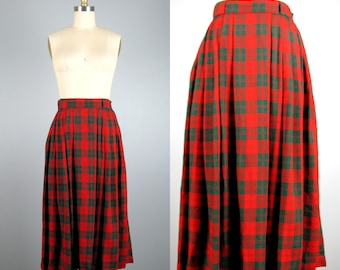 CLEARANCE // Vintage 1950s Red Plaid Skirt 50s Red and Green Rayon Gabardine Pleated Skirt by Coddington 25 Waist