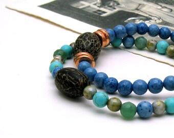 Blue Green Minimalist Beaded Bracelet Ocean Colors Stretch Bracelet, For Her Under 50