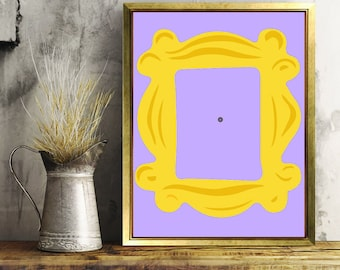 Friends Tv Show, Friends Frame, Home Decor, Digital Art, Printable Art, Purple and Gold, Friends, I'll Be There For You, How You Doin