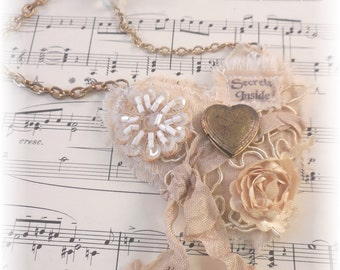 Secrets Inside, Valentine Necklace, Fabric jewelry, locket necklace