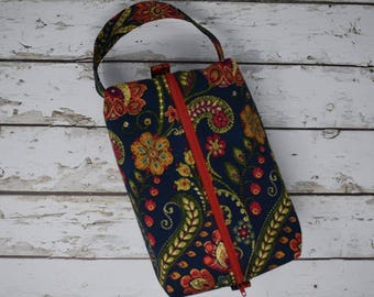 Boxy Project Bag - Red Paisley