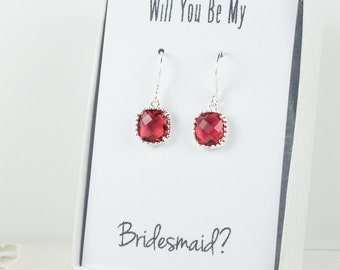 Ruby Silver Earrings, Red Silver Square Earrings, Bridesmaid Gift, Ruby Silver Wedding Jewelry, Bridesmaid Earrings, Red Bridal Accessories