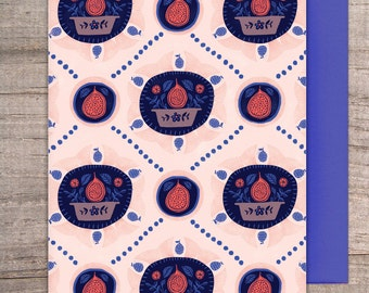 Fruity - Fig note card, greeting card, pattern, note, any occasion