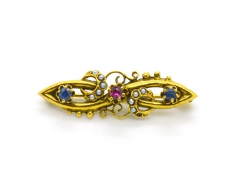 Vintage 14k Yellow Gold Ruby, Sapphire, & Seed Pearl Brooch Pin - .31 ct. total