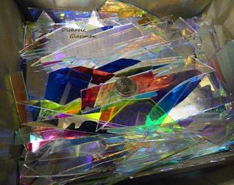Dichroic Borosilicate Glass Scrap Mosaic, Lighting, Stained Glass, Kaleidoscope, Scientific 4 pounds