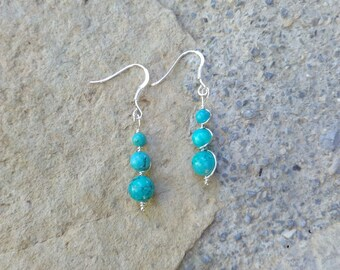 """Turquoise earrings, wire wrapping, silver plated copper wire, Crystal healing, money, """"enchanting swirl"""" hook"""