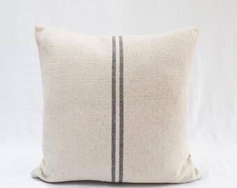 Grey Striped French Grainsack Cushion