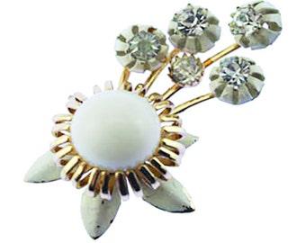 Vintage Enamel Flower Brooch, White Enamel Flower Brooch, Rhinestone Flower Brooch, White Flower Brooch