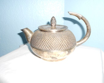 Copper and Silver Overlay Teapot