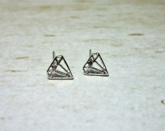Mini Diamond Outline Stud Earrings, Dainty Earrings - Silver