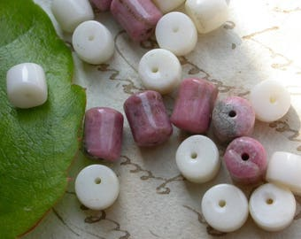 set of 20 mother of Pearl and pink Rhodochrosite