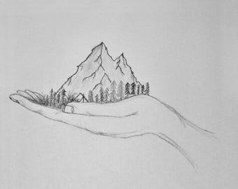 """print of pencil drawing """"Home is where the mountains are"""""""