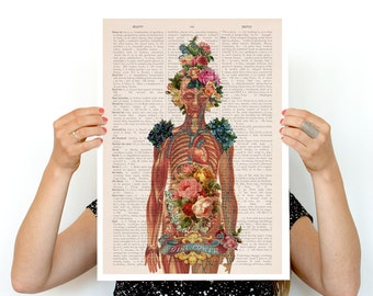 You are beautiful -Woman gift- Feminist art- Wall decor art, Anatomical art  Best friend gift, Giclee wall art, SKA115PA3