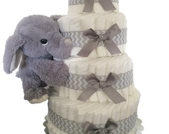 Grey Elephant Diaper Cake (diaper cake-baby shower diaper cakes - unique diaper cakes - baby diaper cakes- Elephant Theme Diaper Cakes
