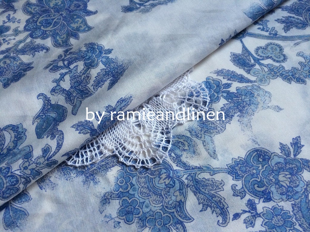 silk fabric blue and white china blue floral print silk