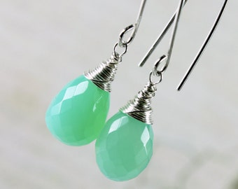 Chrysoprase Earrings, Sterling Silver wire wrap, mint green gemstone, simple dangle earrings, threader earrings, holiday gift for her, 2770