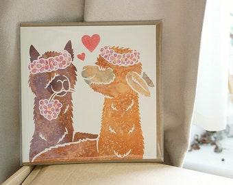 ALPACA art greetings card cute printed watercolour design, Valentine's, girlfriend, best friend, anniversary, wedding, birthday card for her