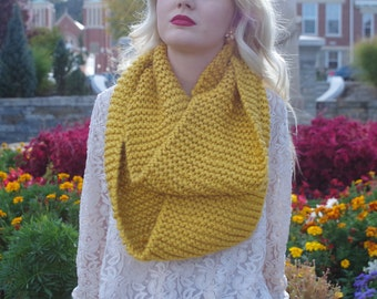Mustard Knitted Infinity Scarf/Fall Fashion