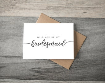 Will you be my Bridesmaid Wedding Card - simple script