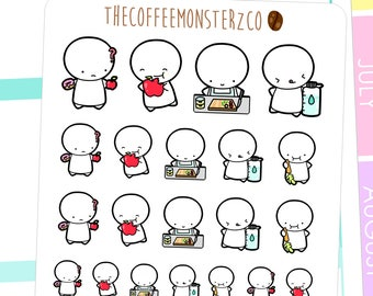 healthy eating emotis - emoti planner stickers E054