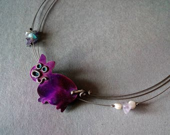 Pig necklace Purple pig jewelry Pig gifts Pig lover gift Cute pig Farmer jewelry Farm gift Animal lover gift Enamel necklace Enamel jewelry