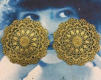 Vintage Raw Brass Flower Filigree Jewelry Supplies arts crafts 23RAW x2