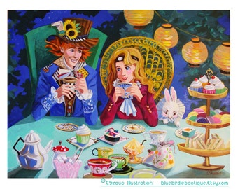 European Tea Party Painting- Mad Hatter and Alice 8.5x11
