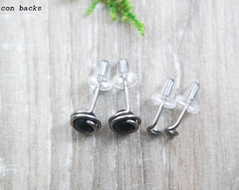 4 piece Titanium stud Set | non allergenic earrings | Niobium stud set | non allergenic studs | 5mm stud set | Gift for her | Christmas gift