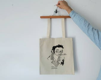 Tote Bag - Screenprint Over Cotton Canvas Tote Bag Serge Gainsbourg