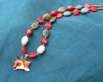 Markdown Sale...RED FOX Profile Clay Head Necklace Features Semi-Precious Jasper Stone beads & Coral