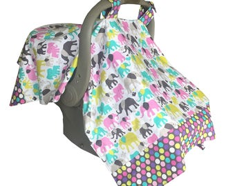 Lightweight Girl Infant Car Seat Cover, Pink Baby Carrier Cover, Car seat Canopy, Girl Baby Shower Gift, Baby Girl Gift