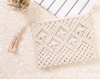 Summer Crochet Tassel Clutch In Beige