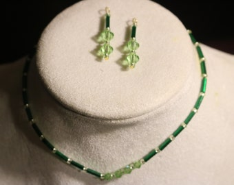 Green hand beaded anklet and earing set by BS