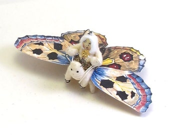 Spun Cotton Vintage Inspired Butterfly Rider Ornament/Figure (MADE TO ORDER)