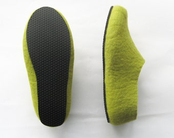 Mens Wool Slippers Green Grey Woodland Gift Spring Green Tea Felted Wool Slippers Rubber Soled Handmade Slippers Color Block Mix and Match