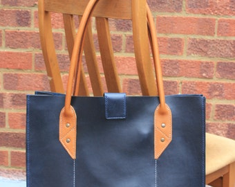 Hand-Stitched Navy Blue Leather Tote