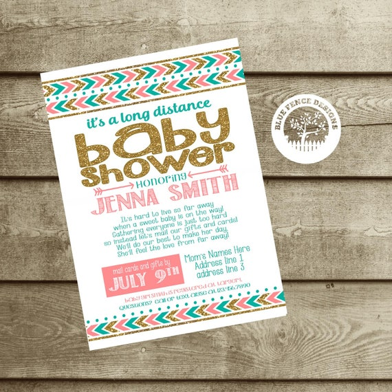Long distance baby shower girl shower invite military baby like this item filmwisefo Image collections