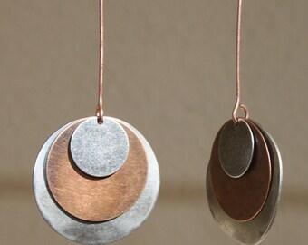 Mixed Metal Earrings Boho earrings Bohemian Earrings Copper Silver Earrings Dangle Earrings Boho Jewelry Chic Gift for women Gift for her