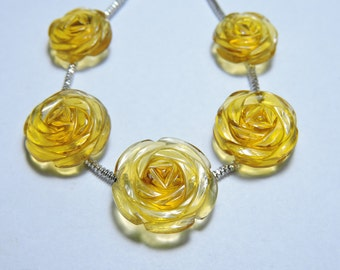 5 Pcs Very Attractive Yellow Citrine Quartz Hand Carved Rose Flower Shaped Beads Size 17X17 - 13X13 MM